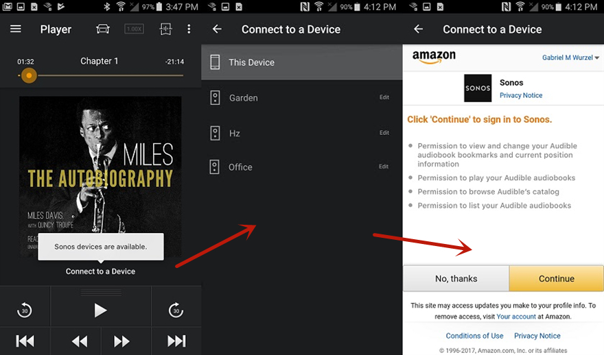 connect audible to sonos android
