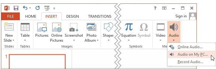 choose to add audio to powerpoint