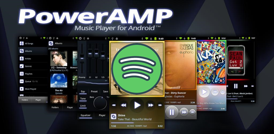 use poweramp to play spotify