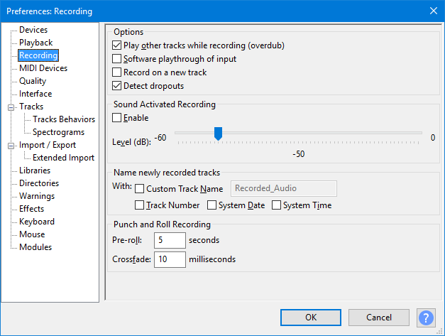 set audacity recording preferences