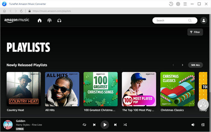 main interface of tunepat amazon music converter