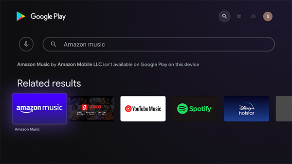 search amazon music on android tv