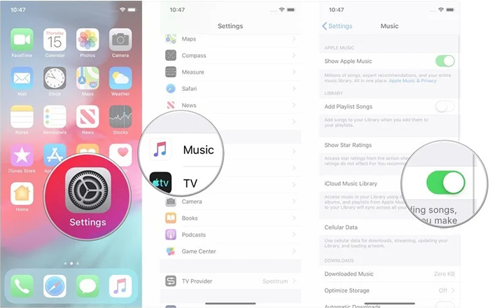 ios icloud music library reload