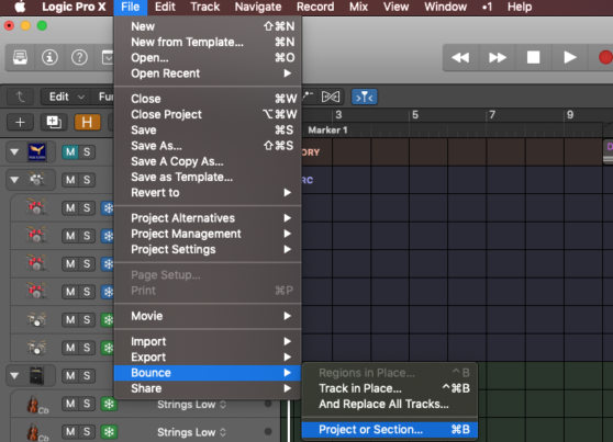 export music from logic